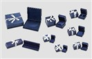 Blue Leather w/White Ribbon Jewelry Boxes