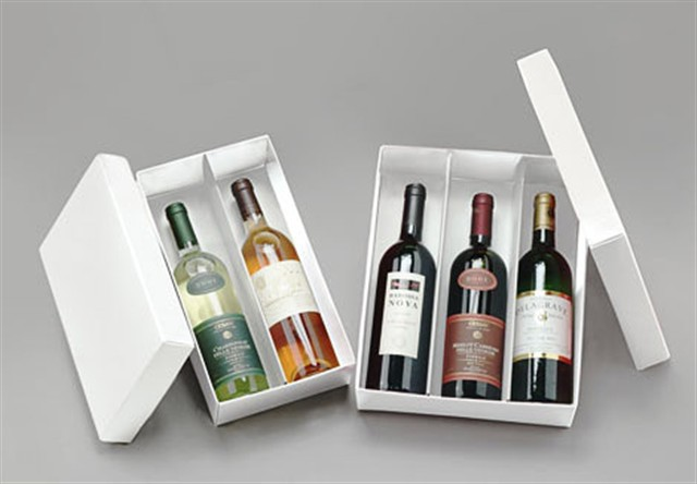 White 3 Bottle Folding Boxes
