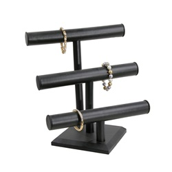 "3 ""T"" Bar Display Black Leather"