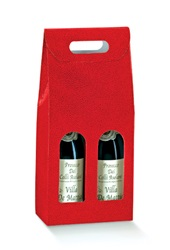 2 Bottle Carrier with Window-Red