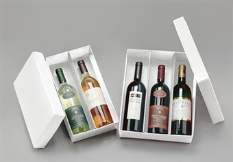 White 3 Bottle Folding Boxes
