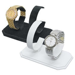 Two pair White Faux Leather Watch Display