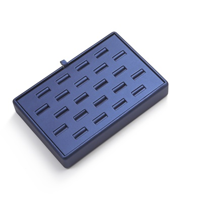 22 Ring Slot Blue Leatherette Tray