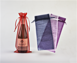 Sheer Wine Bottle Bags w/ Ribbon Drawstring