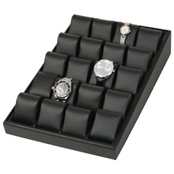 Black Leatherette Angled watch Tray w/ 20 pillows