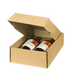 2 Bottle Box with Inserts-Kraft