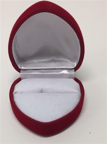 Red white large heart ring box for Heart ring box