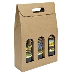 3 Bottle Carrier with Window-Kraft