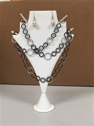 Necklace/Earring Stand White Leather