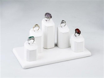5 Ring Clip Tower White Leatherette