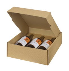 3 Bottle Box with Inserts-Kraft