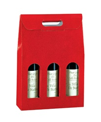 3 Bottle Carrier with Window-Red