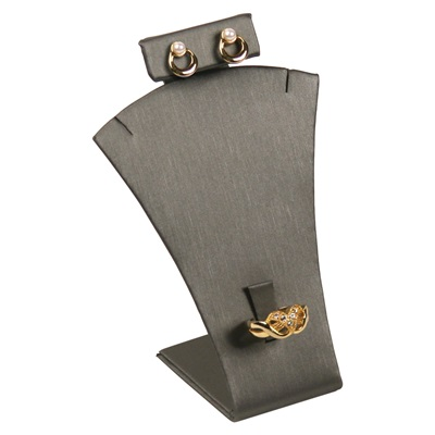 Earring/Ring/necklace Silver Leatherette Stand
