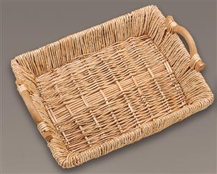 Deluxe Maize & Willow Tray Basket w/Handles