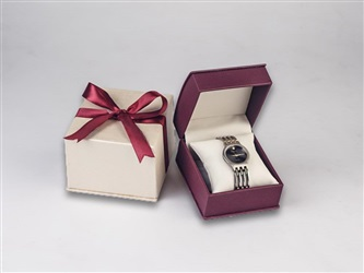 Burgundy/ Ivory Leatherette Watch Box
